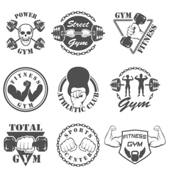 Vintage weight lifting label and sticker vector