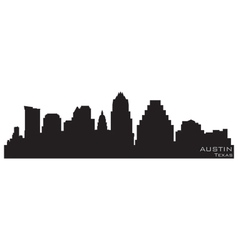 austin texas skyline detailed silhouette vector image vector image