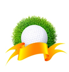 Ball for golf on green grass with gold ribbon Isol vector image