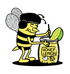 bee mixing honey lemon character vector image