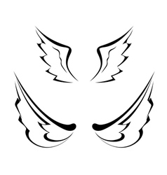 Black tattoo wings isolated on white background vector image vector image