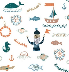 Fishes and sea food seamless pattern - nice design vector image
