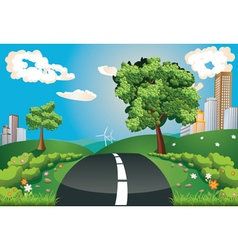 Green Field and City vector image vector image