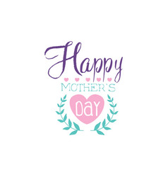 happy mothers day logo template colorful hand vector image
