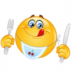 hungry emoticon vector image