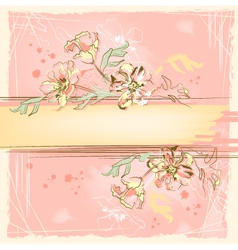 Sketch grunge flowers on watercolor background vector image vector image