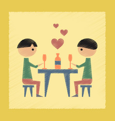 flat shading style icon romantic dinner gay vector image