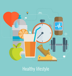 Healthy lifestyle flat food water and sport vector