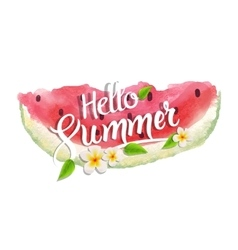 Hello summer lettering typography with watercolor vector image vector image