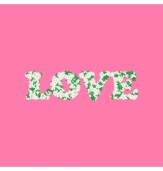 Love word made of chamomile or daisy flowers and vector
