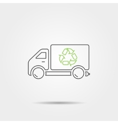 Recycle truck line icon vector image
