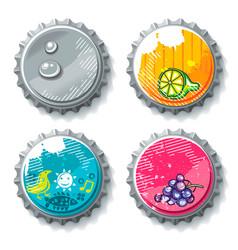 set of grunge metallic bottle caps vector image vector image