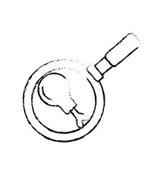 Figure fried thigh of chicken inside skillet pan vector