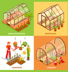 greenhouse design concept set vector image vector image