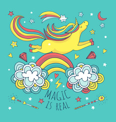 magic background poster with unicorn and vector image