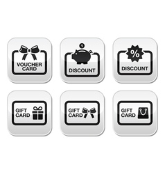 Voucher gift discount card buttons set vector image vector image