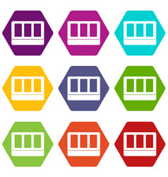 white window frame icon set color hexahedron vector image