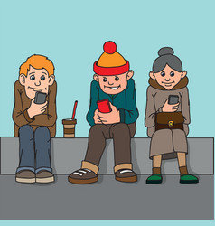 young people and middle-aged woman isolated sit vector image