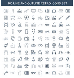 100 retro icons vector