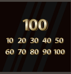 100 years anniversary gold elegant number vector