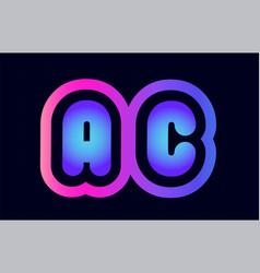 Ac a c pink blue gradient alphabet letter logo vector
