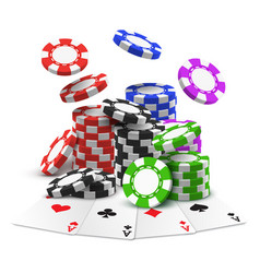 aces with stack or heap sport betting chips vector image