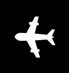 airplane icon isolated on black background vector image