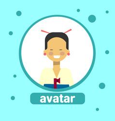 Asian woman avatar icon japanese female vector