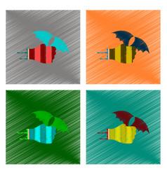 Assembly flat shading style icon hand bat vector