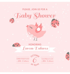 Bashower or arrival card - bird and ladybugs vector