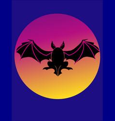 Bat flying over full moon vector