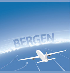 Bergen flight destination vector