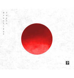 big red sun on rice paper backgroundsymbol vector image