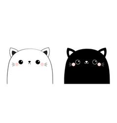 black white cat head face line contour silhouette vector image