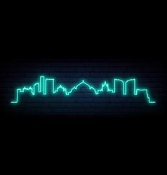 Blue neon skyline naples bright naples city vector