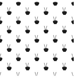 bowl of rice with chopsticks pattern vector image