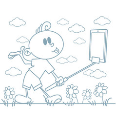 boy taking a selfie vector image
