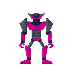 Bright purple steel robot transformer artificial vector