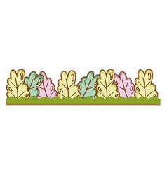 Bushes grass cute cartoon outdoors vector