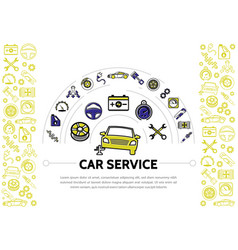 Car service line icons composition vector