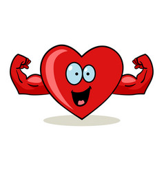 Cartoon character of a heart with muscular hands vector