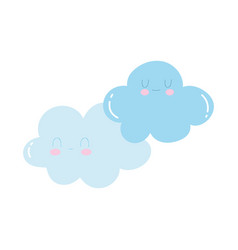 cartoon clouds sky characters isolated icon design vector image