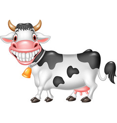 cartoon happy cow isolated on white background vector image