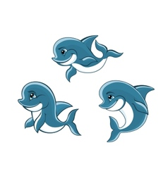Cartoon little blue dolphins vector image