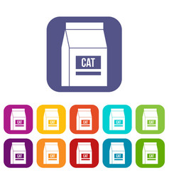 Cat food bag icons set flat vector