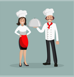 Chef is a man and a woman style flat vector