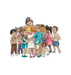 Children hugging their teacher or educator sitting vector