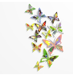 Colorful butterflies in the wave form design vector image