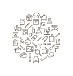 Cooking food in kitchen outline icons vector