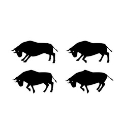 cow ox and bull in silhouette design side view vector image